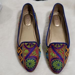 Size 8 slip on shoes multi colored print